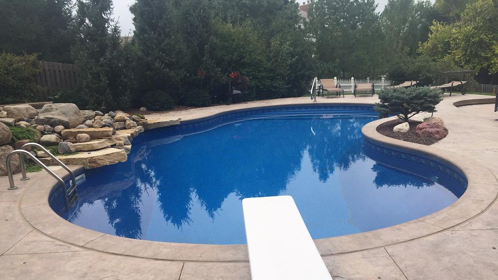 Deep Backyard Pool 18 x 40 free form pool - bell pool and patio